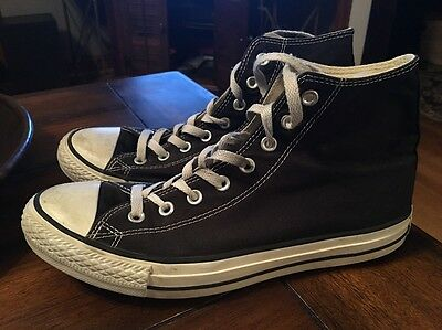 CONVERSE Men's Size 10 Black White ALL STAR High Tops SNEAKERS SHOES