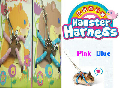 Adjustable Harness Lead Leash Clip Small Pet Hamster Rat Mouse Safety Training