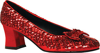 Womens Red Sequin Glitter Shoe for Costume, Dance, Play,