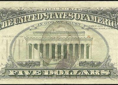 1988 A $5 Dollar Bill Offset Error Federal Reserve Note Paper Money Currency