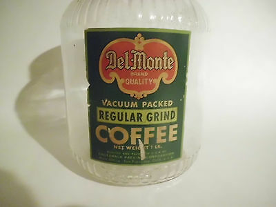 Vintage 1lb Del-Monte Coffee Jar with Lid Old Paper Label California Packing Co.