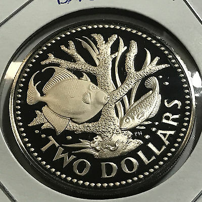 1974 Barbados Two Dollars Coral Gardens Gem Proof Large Coin