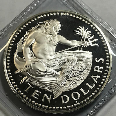 1974 Barbados Ten Dollars King Neptune Gem Proof Huge Silver Coin
