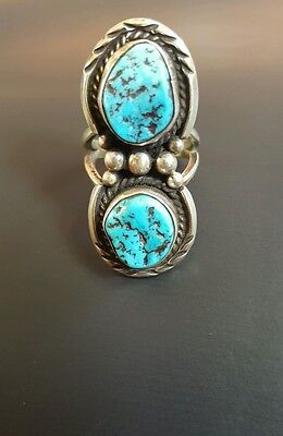 Sterling Silver 925 Navajo Turquoise Ring Size 5 3/4 Signed  HLB