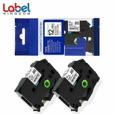 TZe-231 TZ231 Black on White P-Touch Label Tape Compatible for Brother 12mm 2pk