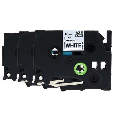 TZe241 TZ241 Black on White P-Touch Label Tape Compatible for Brother 18mm 3pk