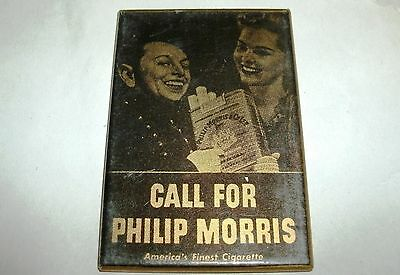 Advertising Pocket Mirror Call For Philip Morris Tobacco Cigarettes Vintage