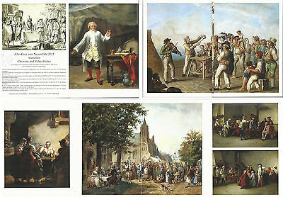 Holiday Card-Volker Huber-2012-1700s & 1800s Cup & Ball Prints-Most in color-Gd