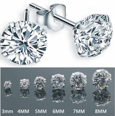 1 Pair Unisex Women Men Silver Plated Cubic Zirconia Round Stud Earrings 3MM-8MM