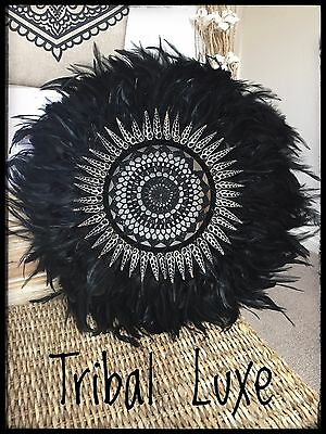Black Tribal Crochet Feather Shell JUJU Hat Plume Handcrafted Wall Hanging Decor