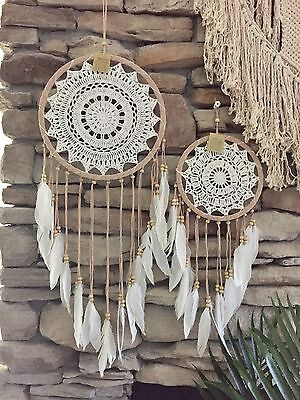 Large 80cm length Handmade Mandela Crochet Boho Chic Gypsy Indian  Dream Catcher