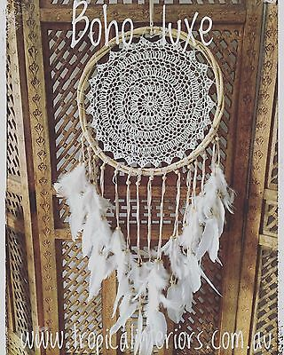 Large Handmade Cane & Crochet Mandela Boho Chic Gypsy Dream Catcher