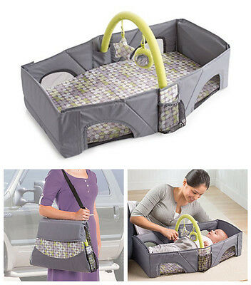 Foldable Travel Bassinet Infant Changing Table Portable Baby Crib Bed Toy Bar