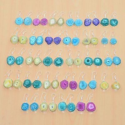 Wholesale 28Pair 925 Silver Plated Solar Druzy Multi Color Long Hook Earring Lot