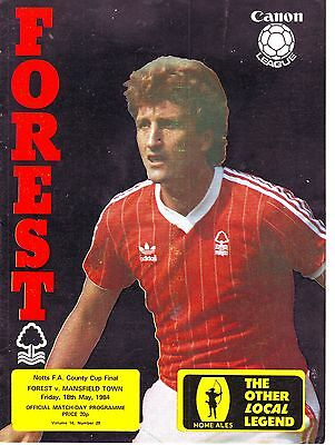 Nottingham Forest V Mansfield Town  County Cup Final 1984 Vgc
