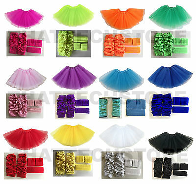 NEON LEG WARMERS TUTU HEADBAND SWEATBAND SET 1980's DISCO COSTUME HEN PARTY