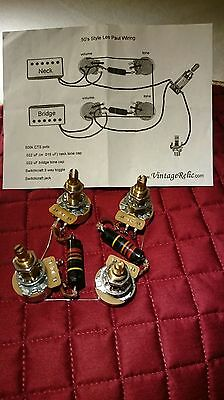 Wiring Kit vintage NOS 50s Bumblebee Caps CTS pots fit Gibson Les Paul Historic