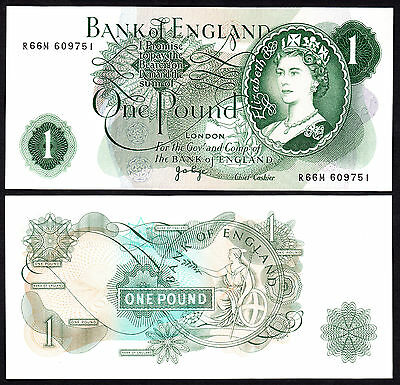 Bank of England Pound J.B. Page 1970-8 Replacement Note R66M RB 14b UNC w/flick