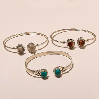 Wholesale 3 Lot Red Sun Stone,turquoise Nice 925 Silver Plated Nice Bangle