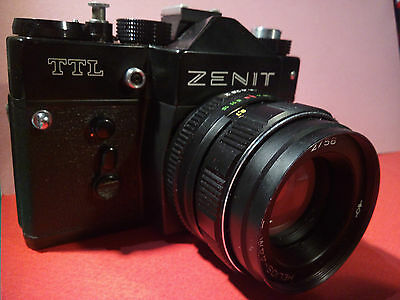 Zenit TTL Camera With Helios-44m-4 2/58 Lens Leather Case And Flash