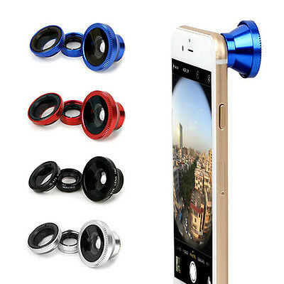 Clip-on 3in1 black Fish Eye,Macro Camera,Wide Angle Lens Kit For Cell phone