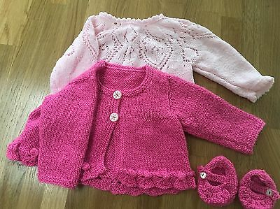 Hand knitted baby jumper, cardigan and pink booties 0-3 months