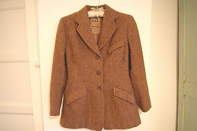 Vintage Authentic Women's Harris Tweed Harry Hall Riding  Jacket Blazer 6-8