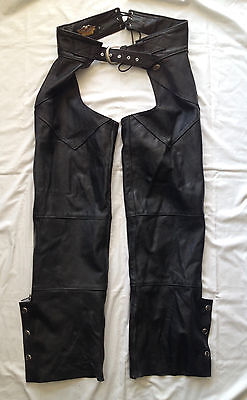 genuine official hd harley davidson leather motorcycle biker riding chaps mens M