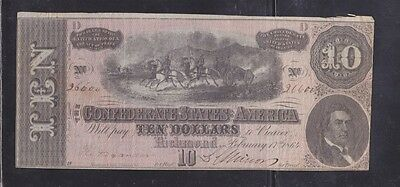 CSA Confederate States of America Currency - $10 (D) Richmond 1864 Issue - T-68