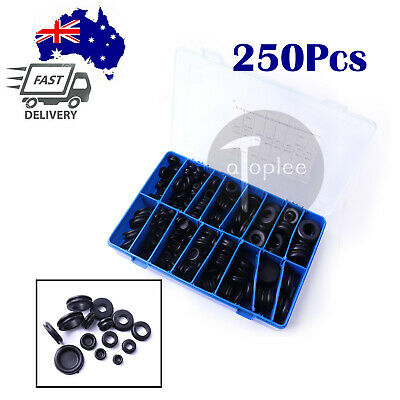 250pcs  Rubber Grommet Firewall Hole Plug Set Electrical Wire Gasket Assortment