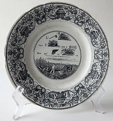 Antique French Rebus Plate Dessert Plate