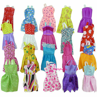 12 Fashion Handmade Mixed Mini Dress Clothes For Barbie Dolls Kid Baby Toys Gift