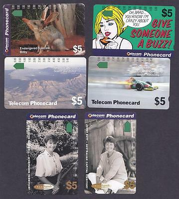 *PHONECARDS.MINT.SIX ASSORTED $5 CARDS.Collector clearance.Lot d.*