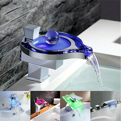 LED Change Light - Lot Style Waterfall Bathroom Water Fall Sink Faucet Mixer Tap