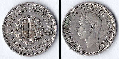 1940 George VI silver threepence (3d)