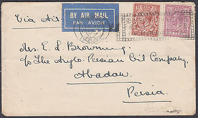 1931 London Slogan Airmail to Anglo-P Oil Co, Abadan; see scans