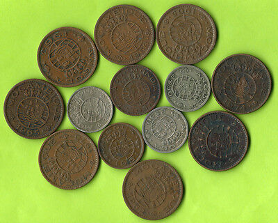 Portuguese Colonies 13 Old Coins Lot Angola, India & Mozambique