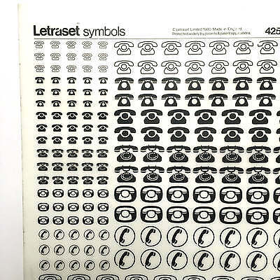 NEW & UNUSED SHEET LETRASET INSTANT RUB ON TRANSFERS Assorted Telephone Symbols