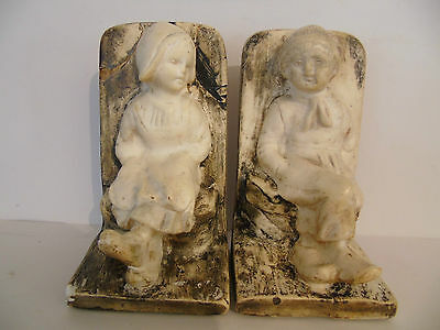 Naive, Rustic Carved Stone Peasant Boy & Girl Bookends