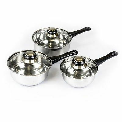 3pc Stainless Steel Cookware Saucepan Pan Pot Set Glass Lids Milk Cook Kitchen