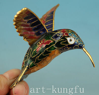 Chinese Old Coloured Cloisonne Collection Handmade Painting Hummingbird Statue