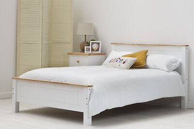 Modern Solid Wooden White / Grey Oak Top Bed Frame Single / Double / King Size