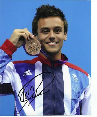 Tom Daley Genuine Hand Signed Autograph In Person 10x8 Photo London 2012 (A)