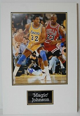 Magic Johnson SIGNED 14X11 PHOTO Mounted Display Los Angeles Lakers AFTAL COA