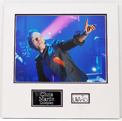 Chris Martin Genuine Hand Signed Photo Mount Display COLDPLAY COA (A)