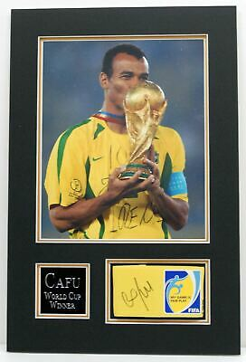CAFU Genuine Hand Signed Photo Mount Display BRAZIL WORLD CUP WINNER AFTAL COA