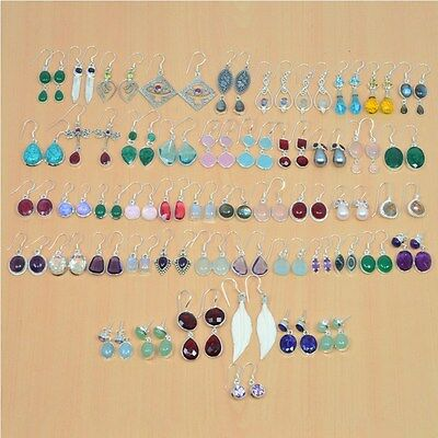 925 Solid Sterling Silver Wholesale 50Pair Natural Garnet Mix Stone Earring Lot