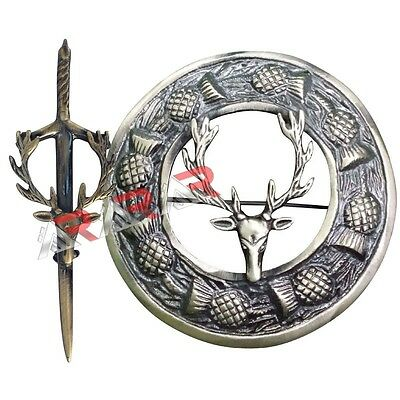 Brand New Stag Head Kilt Pin & Brooch Badge Fly Plaid High Quality Antique End