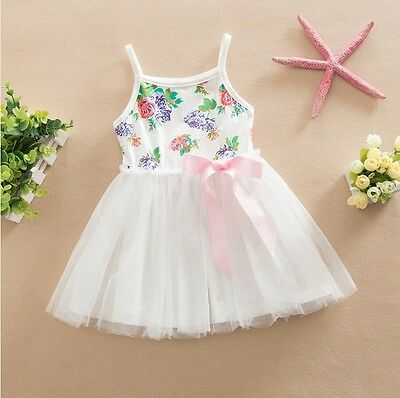Girls Dress Floral Lace Tulle TuTu Bow Party Birthday Size 1-7 years