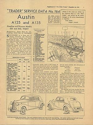 Austin A125 & A135 Sheerline & Princess DS1 DS2 Motor Trader Service Data No 164
